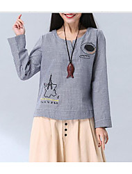 Tee-shirt Femme,Rayé Plage Mignon Printemps Manches Longues Col Arrondi Coton Moyen