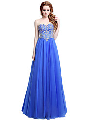 Sheath / Column Sweetheart Floor Length Tulle Formal Evening Dress with Beading