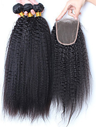 Vinsteen 8A Unprocessed Indian Kinky Straight Human Hair 3 Bundles with 4*4 inch Lace Closure Natural Black Color Dyeable Shedding and Tangle Free