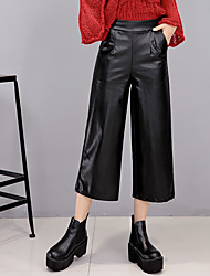 Fall 2016 new female trousers elastic waist wide leg pants leather pants female black leggings Waichuan autumn section pantyhose