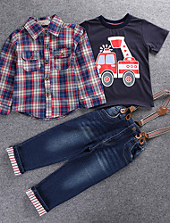 Boys' Casual/Daily Holiday Going out Check Sets,Cotton Polyester Spring Fall Long Sleeve Clothing Set