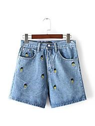 Damen Einfach Mittlere Hüfthöhe Unelastisch Jeans Kurze Hosen Gerade Hose einfarbig