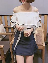 Chemisier Jupe Costumes Femme,Rayé Sortie Décontracté / Quotidien Soirée / Cocktail Sexy Street Chic Sophistiqué Sangle Eté Manche 3/4