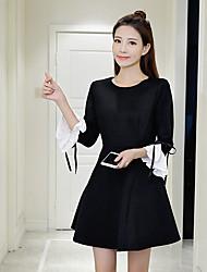 assinar Outono 2016 nova versão coreana do vestido de manga sétima trombeta slim uma palavra saia
