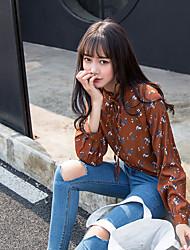 signe chic et col en dentelle florale sud champignon sauvage loisirs basé corée-shirt à manches longues