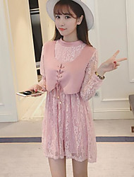 Sign 2016 new small fresh Korean Leisi stitching suede dress girl