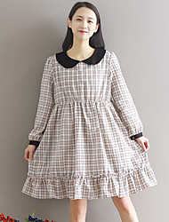 Sign new Mori female doll collar was thin loose plaid long-sleeved dress long section