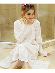 Chemises & Gowns Nightwear,Lace Solid-Medium Cotton White Women's