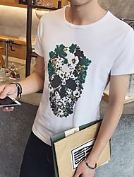Slim homens impresso de manga curta t-shirt cabeça café
