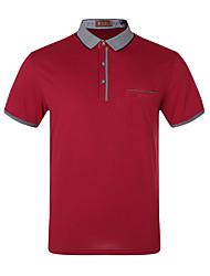 Primavera e verão homens de meia-idade&# 39; s de manga curta t-shirt camisa de algodão mercerizada solapa homens soltos de meia-idade