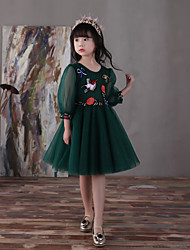 HUA XI REN JIAO A-line Knee-length Flower Girl Dress - Tulle Jewel with Flower(s) Lace