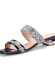 Women's Slippers & Flip-Flops Summer Fall Slingback PU Synthetic Dress Casual Low Heel Sequin