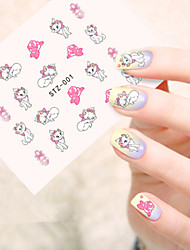 5pcs/set Sweet Style Lovely Cat Design Nail Art Water Transfer Decals Beautiful Cat Nail Decoration STZ-001