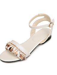 Women's Sandals Summer Fall Comfort Light Soles PU Office & Career Dress Casual Flat Heel Low Heel Imitation Pearl Buckle Chain