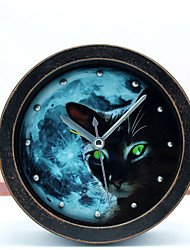 Retro Pastoralism Antique Style Night Genius Black Cat Desk Clock Table Clock Alarm Clock 3D Metal Rivet Clock Silent
