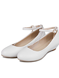 Women's Flats Comfort PU Summer Casual Dress Comfort Buckle Low Heel Blushing Pink Ruby Black White 1in-1 3/4in