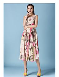 Novas mulheres&# 39; s elegante lantejoulas rosa impressão cintura vestido elegante colocar em um vestido de seda chiffon grande