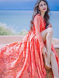 Подписать новые кружева V-образным вырезом кружева платье щель платье большой качели