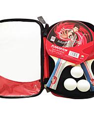 3 Stars Ping Pang/Table Tennis Rackets Ping Pang Rubber Long Handle Raw Rubber 2 Rackets 3 Table Tennis Balls