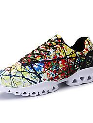 Masculino-Tênis-Conforto Solados com Luzes par sapatos-Rasteiro-Branco/Preto Preto/Amarelo Azul Real-Tecido-Ar-Livre Casual Para Esporte