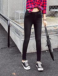 Damen Street Schick Hohe Hüfthöhe Dehnbar Jeans Skinny Hose einfarbig