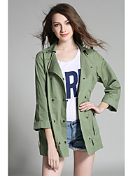 2017 autumn in Europe and America really making big yards leisure army green lapel double-breasted long sleeve coat female