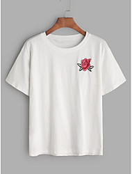 Spot really making 2017 spring and summer fine cotton embroidered roses simple short-sleeved T-shirt Women