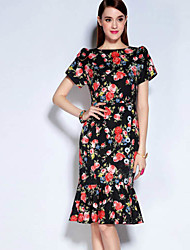 Mary Yan & Yu Women's Casual/Daily Vintage Trumpet/Mermaid Dress,Floral Round Neck Above Knee Short Sleeve Cotton Polyester Fall Mid Rise Inelastic