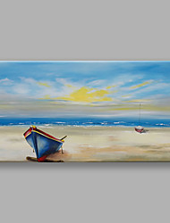 IARTS Hand Painted Modern Abstract Landscape Painting The Boat Stop in The Seabeach For Home Decoration