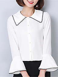 Women's Going out Casual/Daily Street chic Spring Blouse,Solid Peter Pan Collar ¾ Sleeve Polyester Medium