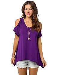 Damen Solide Einfach Lässig/Alltäglich T-shirt,Rundhalsausschnitt ½ Länge Ärmel Seide