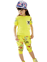 Girls' Casual/Daily Sports Solid Floral Sets,Cotton Summer Short Sleeve Clothing Set