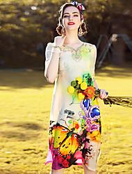 Dámské Vintage Jednoduché Sofistikované Jdeme ven Běžné/Denní Plážové Volné Shift Šaty Květinový,Poloviční délka rukávu AsymetrickýDélka
