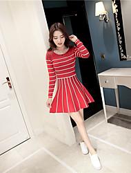 2016 nouvelle section coréenne à manches courtes robe en tricot rayé longues col rond de tutu princesse du vent collège