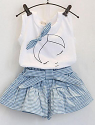 Girls' Casual/Daily Plaid Patchwork Sets,Rayon Summer Sleeveless Clothing Set