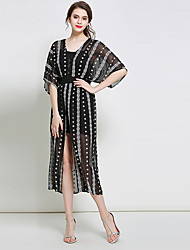 Women's Going out Vintage Sheath Dress,Print V Neck Midi ½ Length Sleeve Polyester Spring Summer Mid Rise Inelastic Thin