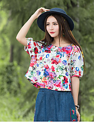 Nouvelles femmes&Tissus d'impression en t-shirt en coton rond