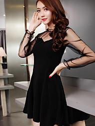 signe nouvelle oreille bois de gaze dames coréenne en perspective col rond pincement à manches longues plissée taille grand balançoire