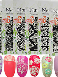 1pcs New 3D Nail Art Sticker Colorful Design White Sweet Lace Beautiful Flower Design Micro-carving Printing Pattern Nail Beauty Deco Tip DP211-224