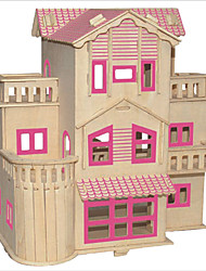 Jigsaw Puzzles DIY KIT Building Blocks 3D Puzzles Educational French Villa Wooden Puzzles Building Blocks DIY ToysSquare Famous