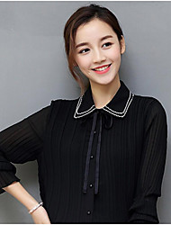 Women's Casual/Daily Simple Blouse,Solid Peter Pan Collar ¾ Sleeve Silk Thin