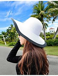 Для женщин Очаровательный На каждый день Соломенная шляпа Шляпа от солнца,Лето осень Соломка Контрастных цветов