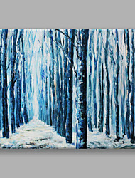 IARTS Hand Painted Modern Abstract Landscape Painting Blue Woods Wall Art For Home Decor