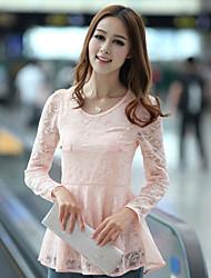 новая корейская круглая шея с длинными рукавами рубашка шифона кружево рубашка дна рубашка небольшой рубашка старинных Shayi