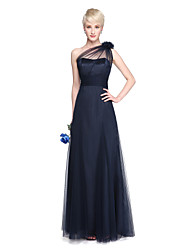 A-Line One Shoulder Floor Length Tulle Bridesmaid Dress with Flower(s) Sash / Ribbon Side Draping Ruching by LAN TING BRIDE®