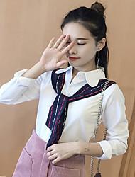 modelar mulheres coreanas real Plano&# 39; s Primavera 2017 coreano costura solta de mangas compridas maré camisa branca de seda