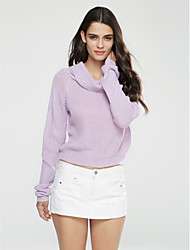 Women's Casual/Daily Street chic Short Pullover,Solid Turtleneck Long Sleeve Polyester Fall Winter Medium Micro-elastic