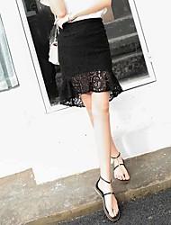 Damen Sexy Vintage Hohe Hüfthöhe Ausgehen Lässig/Alltäglich Über dem Knie Röcke Bodycon,Rüsche einfarbig Riemengurte Sommer