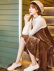 Zeichen Frühjahr koreanische Version des westlichen Stil Crimp Samt Fischschwanz Kleid Strap Wild weiblich