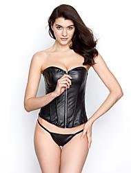 Leatherette With Plastic Boning Corset Shapewear Sexy Lingerie Shaper